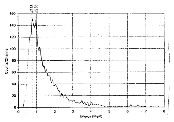 مخطط في شاشة الكشف الخاصة بأحد الكاشفات المعتمدة على النيوترونات تظهر فيه مستويات الطاقة المستخدمة مقابل معدلات الامتصاص ويظهر اكتشاف اليورانيوم النظير 238 المشع