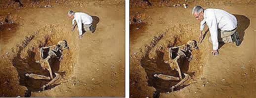 صورة مزيفة لهيكل عظمي عملاق