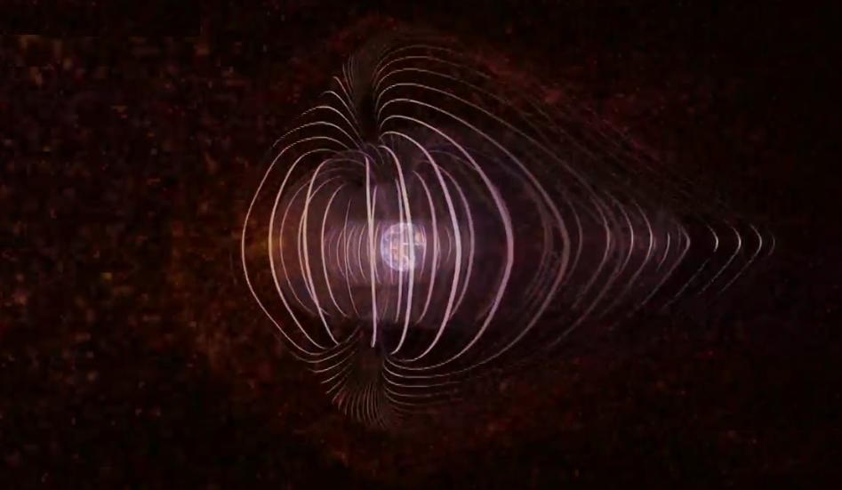 صورة محاكاة المجال المغناطيسي للأرض أثناء الرياح الشمسية