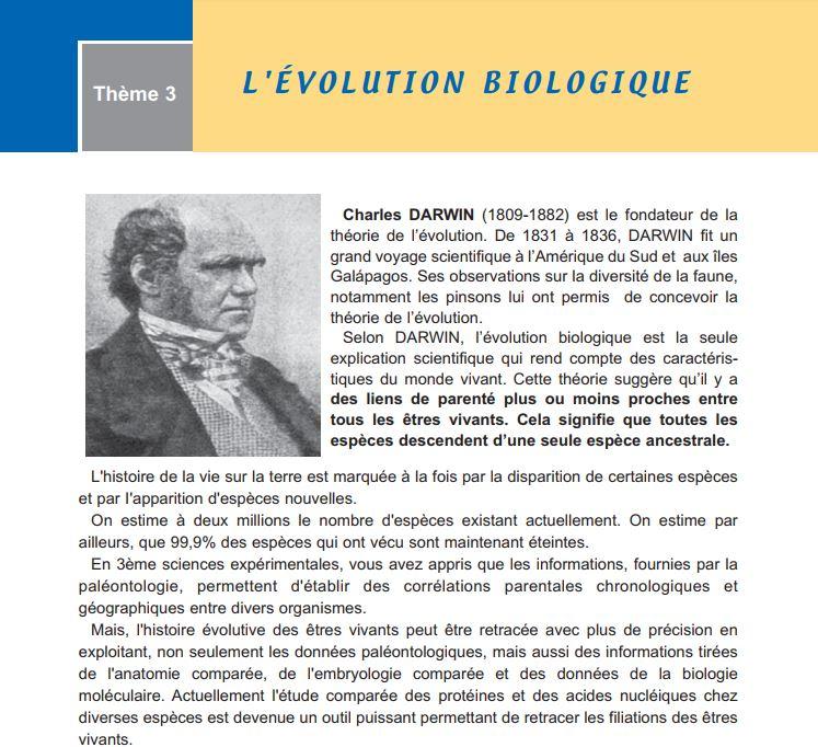 باب التطور في كتاب الرابع الثانوي قسم العلوم التجريبية تونس