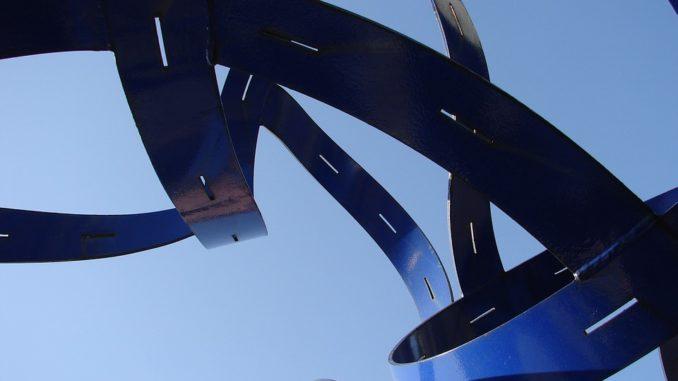 Azure Abstract Sculpture Blue Design Futuristic