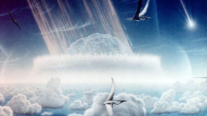 رسم تخيلي للحظة اصطدام الكويكب بالأرض