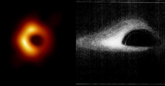 مقارنة التصور حول الثقب الاسود والصورة التي تم انتاجها في عام 2019