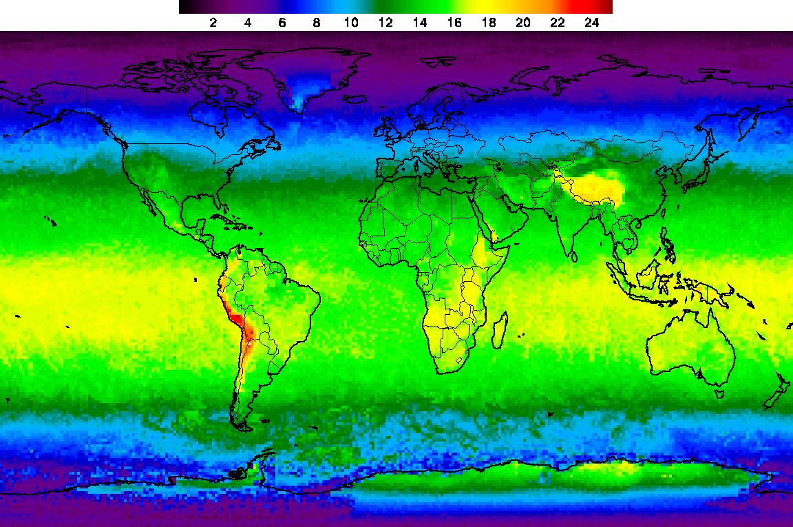 الشكل 2. خريطة لذروة الأشعة فوق البنفسجية