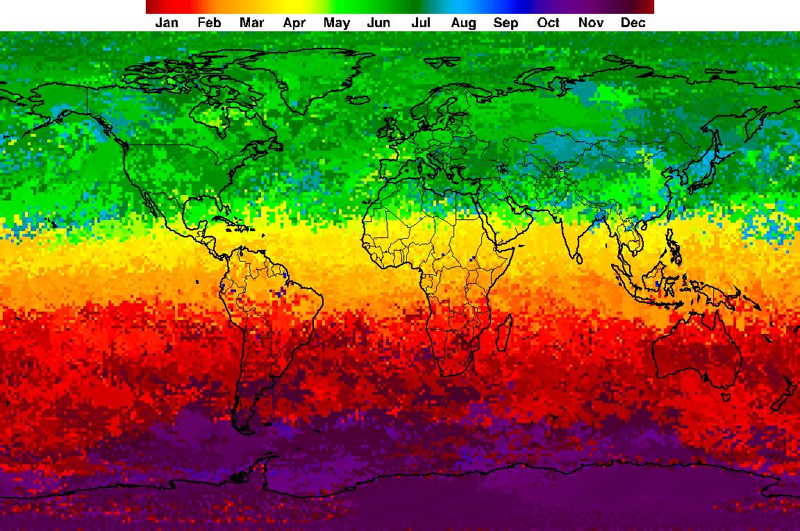 خريطة تبين يوم من السنة التي وقعت فيه ذروة الأشعة فوق البنفسجية